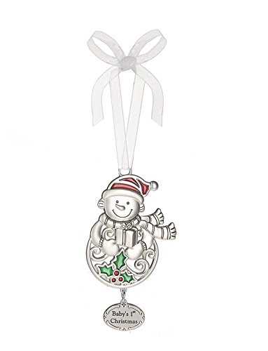 Ganz 2″ Polished Zinc Epoxy Holiday Bright Ornament (Baby's 1st Christmas)