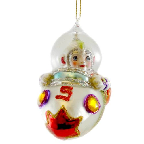 Holiday Ornament SPACESHIP Glass Space Travel Christmas TT0194 WHITE