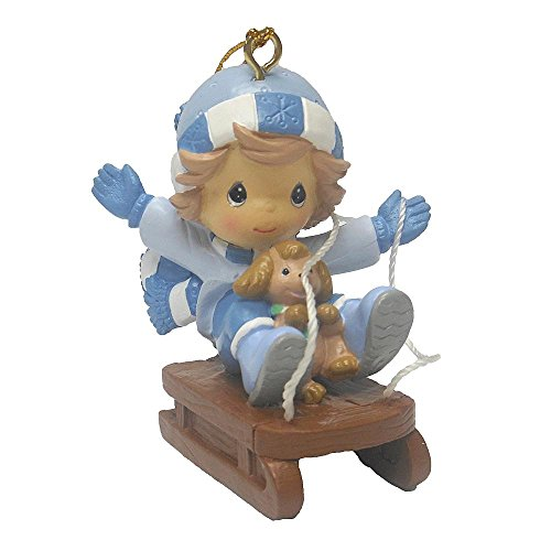 Precious Moments Christmas Holiday Tree Ornament – Little Boy in Blue Riding Sleigh with Brown Puppy