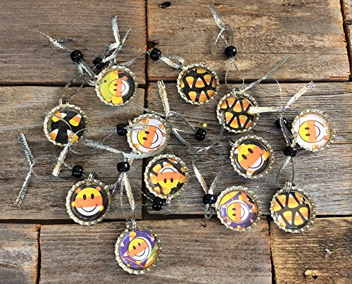 AG Designs Bottlecap Ornaments – Cute Candy Corn Halloween Theme 12pc. #72302