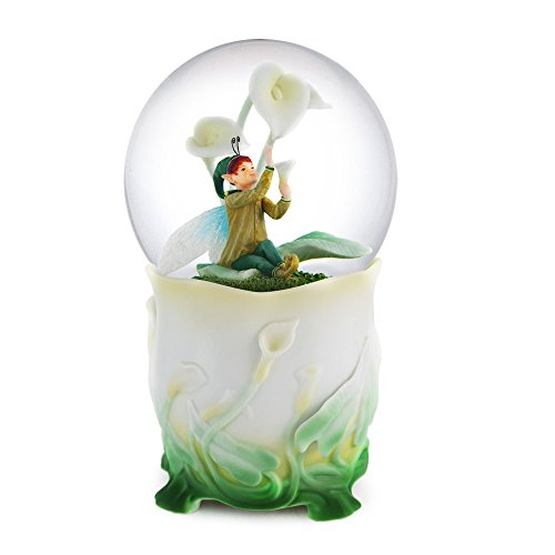 "Elf with Flower Dew Drop – Snow Globe – Rotating – – Water Ball Music Box Tune: "" Spring"" 100mm"