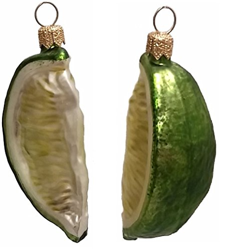 Lime Wedge Citrus Fruit Polish Glass Christmas Ornament Set of 2 Decorations