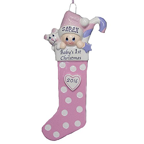 Personalized Baby Long Stocking Pink Ornament