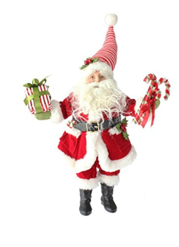 RAZ 12-inch Standing Santa Holding Present and Candy Canes