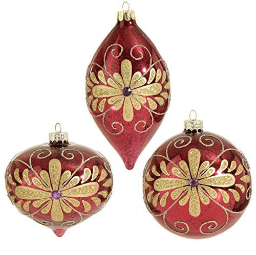 RAZ Imports – 4″ Plum and Gold Glittered Flower Decorated Christmas Tree Ornaments – Set of 3