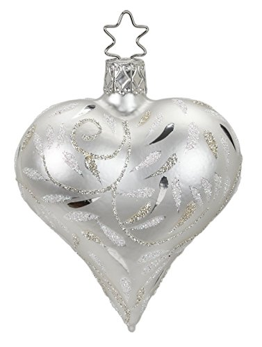 Heart, Delights, White Matte, #20158T040, from the 2016 Silver and White Elegance Collection by Inge-Glas Manufaktur; Gift Box Included