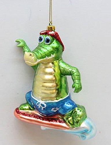 December Diamonds Beach Surfing Alligator Glass Christmas Ornament 7980258 New