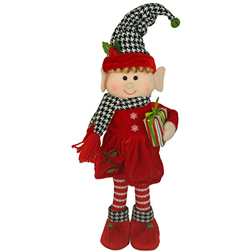 Holiday Houndstooth Standing Elf Girl, 17″
