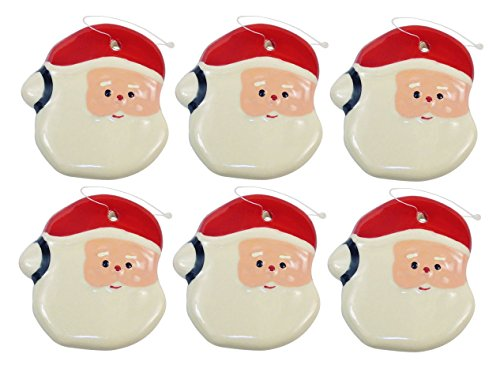 Santa Xmas Ornament – Shiny Glazed Earthenware Christmas Ornament Santa Face with Hanging String, Great Collection for The Holiday Tree Trimmings. Set of 6.