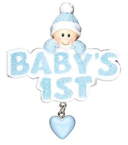 Baby 1st Boy in Blue Cap Personalized Christmas Tree Ornament by Polar X