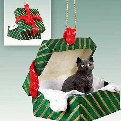 Tabby Cat Gift Box Christmas Ornament Black Shorthaired – DELIGHTFUL! by Conversation Concepts