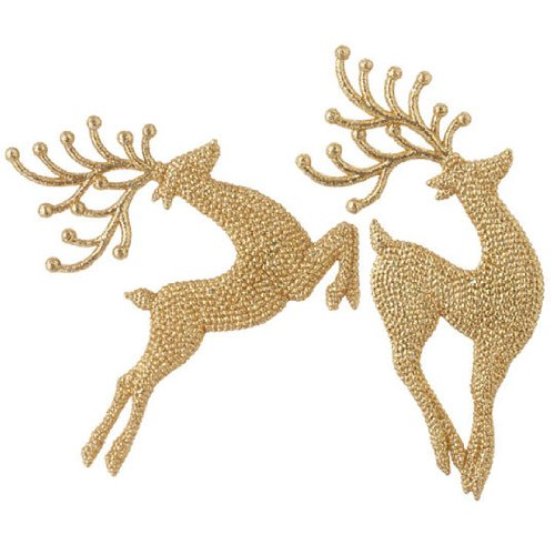 RAZ Imports – Gold Leaping Deer Christmas Tree Ornaments – Set of 2