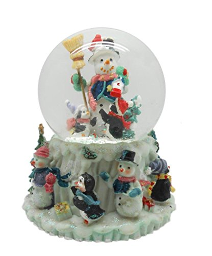 Lightahead PolyResin 80MM Musical Water Snow Ball Playing a Tune & Rotating Table Top Decoration for Christmas (SnowMan)