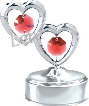 "Chrome Plated Twin Hearts ""Love"" Chrome Plated Music Box – Red – Swarovski Crystal"