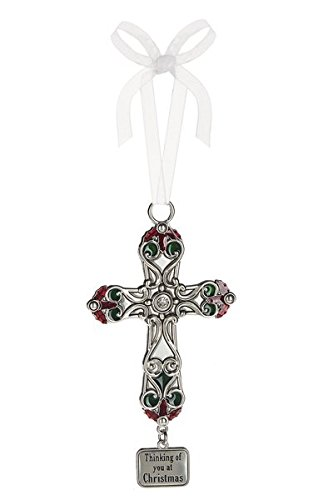 Ganz 4″ x 2″ Cross Ornament – Thinking of you at Christmas