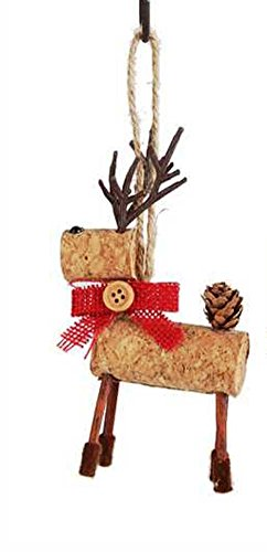 Creative Co-Op Country Christmas Collection Cork Reindeer with Bow Ornament, Choice of Color (Red)