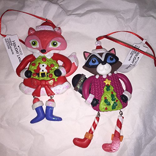 Macy's Holiday Lane Woodland Animal Ornaments – Raccoon and Fox