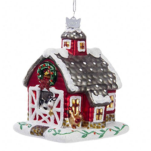 Kurt Adler 4.25″ Noble Gems Glass Barn Ornament