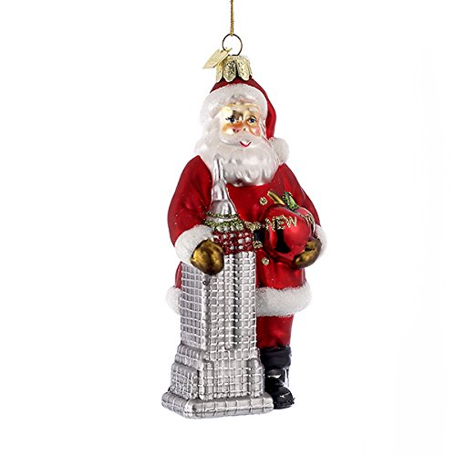 Kurt Adler 5-1/2-Inch Noble Gems Glass Santa with Empire State Building Ornament