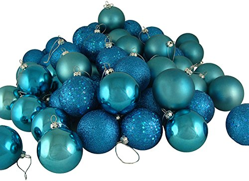 20ct Turquoise Blue Shatterproof 4-Finish Christmas Ball Ornaments 2.75″ (70mm)