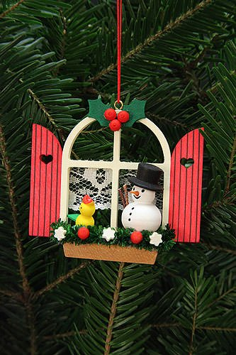 Tree ornaments Tree Ornaments Adevnt Window with Snowman – 7,6×7,0cm / 3×3 inch – Christian Ulbricht