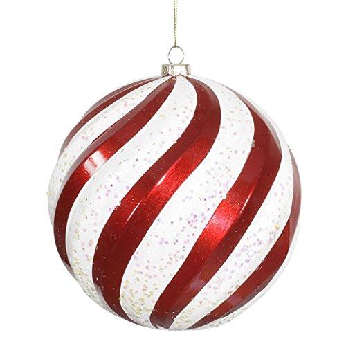 Vickerman 34015 – 6″ Red / White Candy Glitter Swirl Ball Christmas Tree Ornament (M112073)