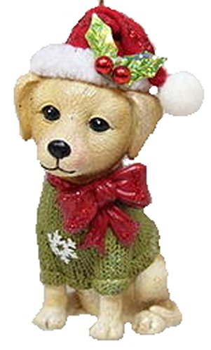 December Diamonds Ornament – Yellow Lab with Santa Hat