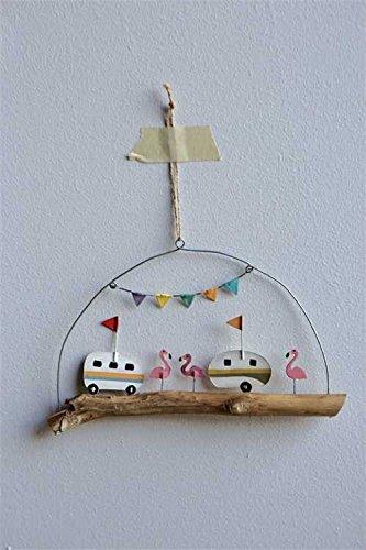 Tin Camper Ornament w/ Flamingos