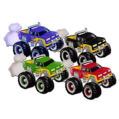 Monster Truck Blue Personalized Christmas Tree Ornament by Polar X