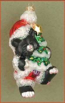 Cobane Studio LLC COBANEB111 Kitty's Christmas Black and White Ornament