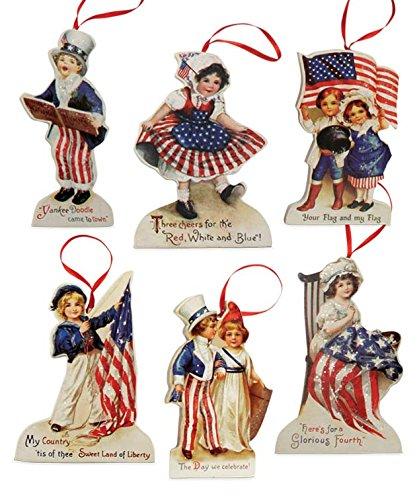 Bethany Lowe Americana Die Cut Patriotic Ornament Set of 6