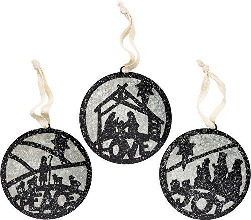 PBK Christmas Ornament – Tin Bulb Shape – Nativity Scene Silhouette 3pc #32713