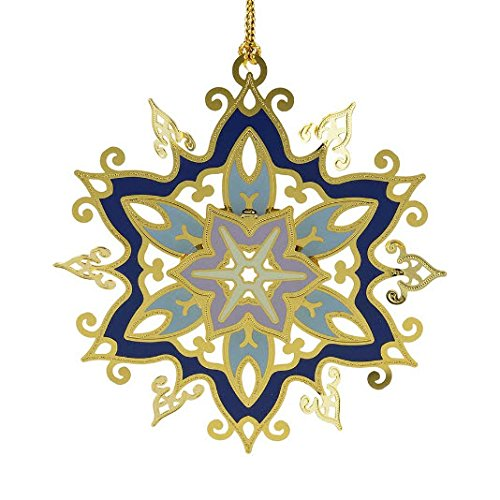 New 24KT Gold Finished Glistening Snowflake Christmas Tree Ornament