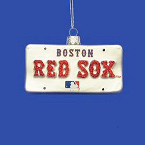 4″ MLB Boston Red Sox Hand Crafted Glass License Plate Christmas Ornament