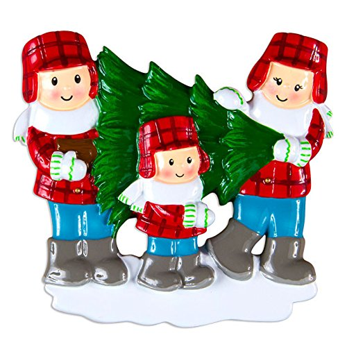Christmas Tree Lot Family Of 3 Personalized Christmas Tree Ornament
