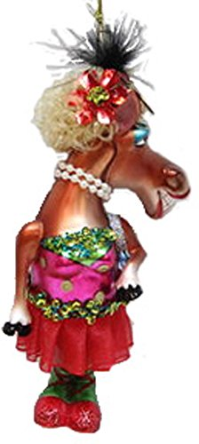 December Diamonds Blown Glass Ornament Horse with Red Skirt