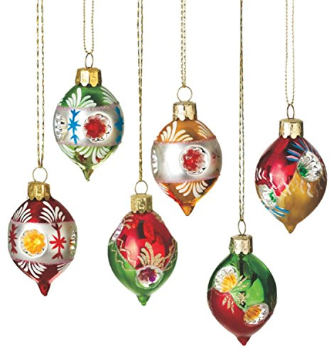Set of 6 Retro-Style Reflector Glass Drop Christmas Ornaments 2.75″