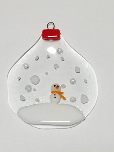 Snow Globe Fused Glass Snowmen Ornament