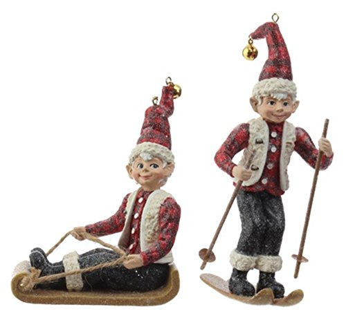 Raz 5″ Skiing and Sledding Elf Christmas Ornaments Set of 2