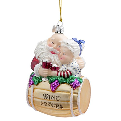 4.25″ Noble Gems Santa and Mrs. Claus Barrel Wine Lovers Christmas Ornament