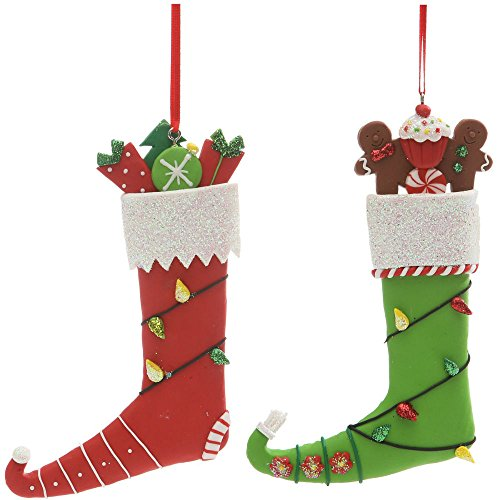 Christmas Holiday Handmade Clay Elf Stocking Ornament – Assorted, 5″ x 3″