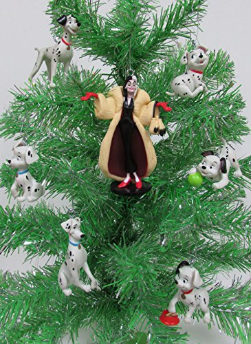 Disney 101 Dalmatians Christmas Tree Ornament Set Featuring Cruella De Vil, Pongo, Perdita, Lucky, Rolly, Patch and Penny