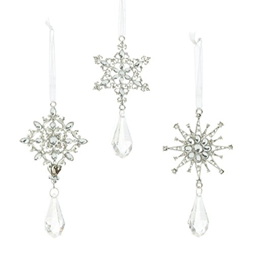 5-inch Snowflake Drop Ornaments 3 Assorted