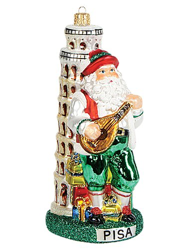 Italy Leaning Tower of Pisa Santa Polish Mouth Blown Glass Christmas Ornament