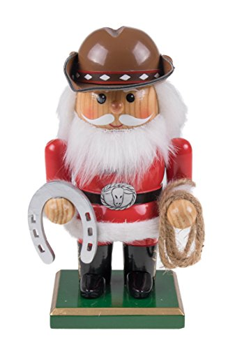Wooden Chubby Santa Claus Cowboy Nutcracker with Horseshoe and Rope – 7″ Tall