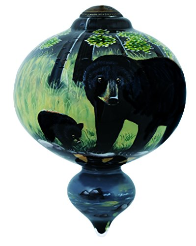 "Ne'Qwa Art, Housewarming Gifts, ""Black Bear And Cub"" Artist Cynthie Fisher, Marquis-Shaped Glass Ornament, #7144109"