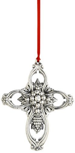 Reed & Barton Francis I Pierced Cross Christmas Ornament, 3-3/4-Inch