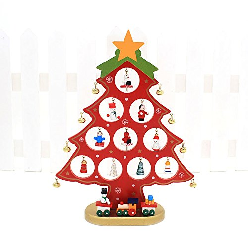 RD Lane Wooden Tabletop Christmas Tree with 21 Pcs Miniature Snowman Bells Ornaments for Party Holiday Home Decor Christmas Gift Color:Red