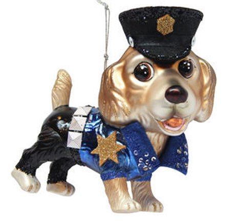 December Diamonds Blown Glass Ornament – Golden Retriever Policeman