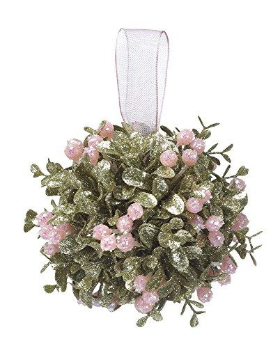 Kissing Krystals 5″ Mistletoe Ornament – Pretty in Pink